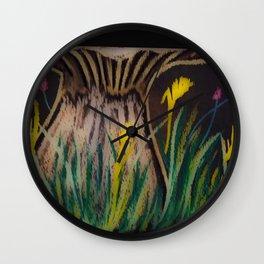 Chalkboard Blooms Wall Clock