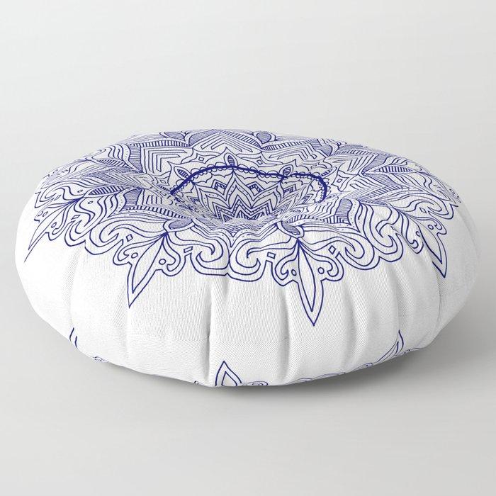 Blue Flower Mandala Floor Pillow