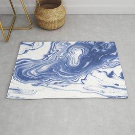 Iwao - indigo blue monochromatic spilled ink japanese paper marble trendy hipster minimal painting Rug