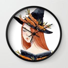 Sea Buckthorn Witch Wall Clock