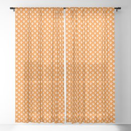 Tiny Paw Prints Pattern - Bright Orange & White Sheer Curtain