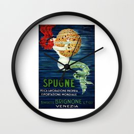 1920 ITALY Mermaid With Sponge Advertising Poster Wall Clock