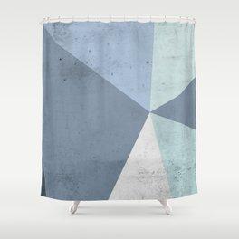 Winter Blue Geometry Shower Curtain