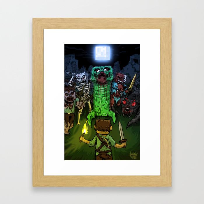 Bring On The Night Minecraft Illustration Framed Art Print
