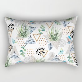 Geometric with cactus and butterflies Rectangular Pillow