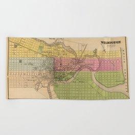 Map of Wilmington 1868 Beach Towel