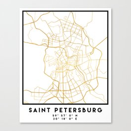 SAINT PETERSBURG CITY STREET MAP ART Canvas Print