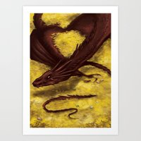 smaug Art Prints featuring Smaug by toibi