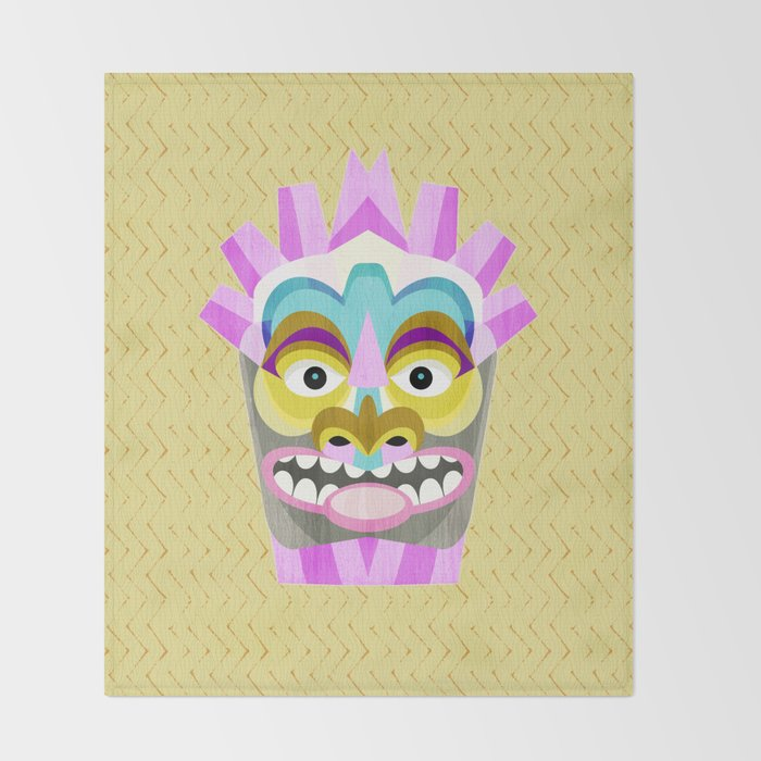 Aloha Tiki Mask Throw Blanket
