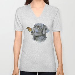 Black Lab with a Monarch Butterfly on His Nose Unisex V-Neck