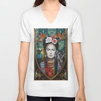 frida V-neck T-shirts featuring Frida by Sophie Wilkins