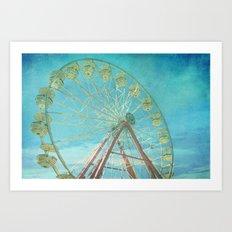 Ferris Wheel I carnival, creamy, carnival print, nursery print, home decor, carnival decor, Art Print