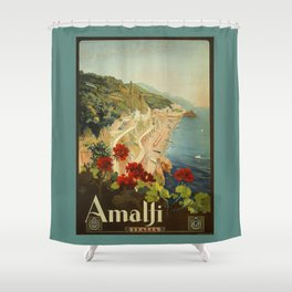Vintage Travel Ad Amalfi Italy Shower Curtain