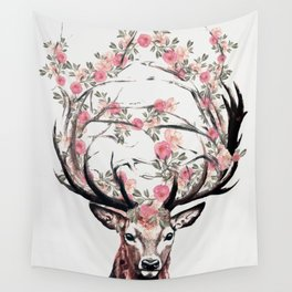 Deer and Flowers Wall Tapestry