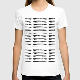 Black squared stripes, hand painted rough texture T-shirt
