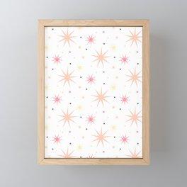 Shinny Stars pattern pink yellow Framed Mini Art Print