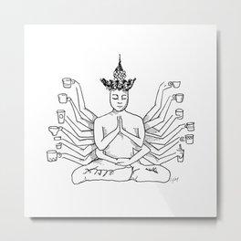 Coffee Meditation | @makemeunison Hand Drawn Art Metal Print