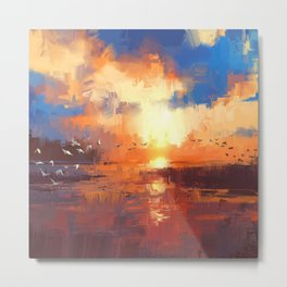 beautiful painting showing sunset on the lake Metal Print