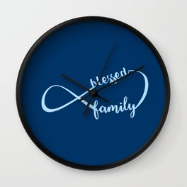 Navy Blue Infinity Blessed Family Wall Clock