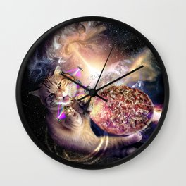 Galaxy Space Cat Reaching Pizza With Laser Wall Clock