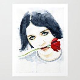 Brian Molko red rose Art Print