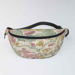 Libra Antique Astrology Zodiac Pictorial Map Fanny Pack