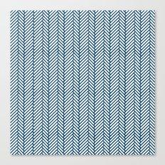 Herringbone Navy Canvas Print