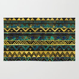 Gold and Teal Marble Tribal Boho Ethnic  Pattern Rug