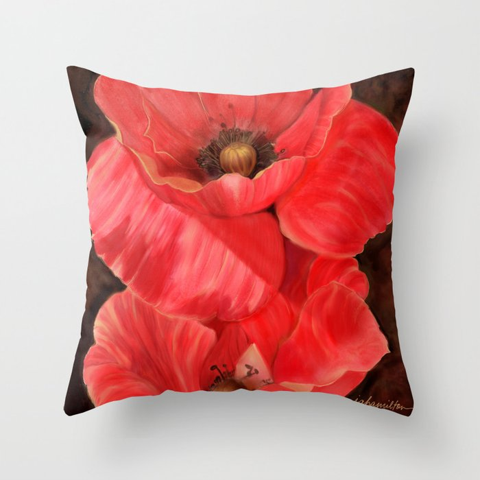 Red Poppy One Throw Pillow