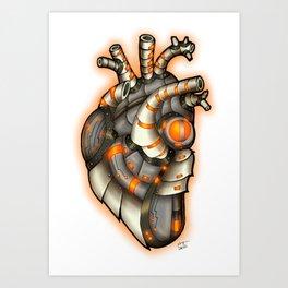 Robot Heart - Grouchy Orange Art Print
