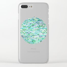 Marble Mosaic in Mint Quartz and Jade Clear iPhone Case