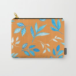 Tropical Blue Leaves - burnt orange Carry-All Pouch