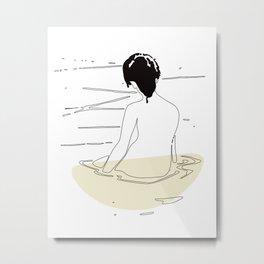Nude Woman Geisha Japanese Line Art Drawing Erotic Naked Body Water Metal Print