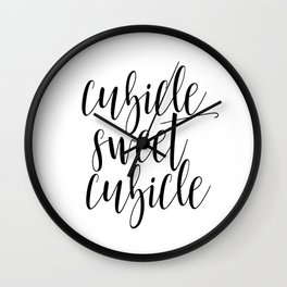 """Black and white printable art """"Cubicle Sweet Cubicle"""" office art print office wall art office decor Wall Clock"""