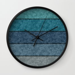 Blue and gray marble striped pattern . Wall Clock