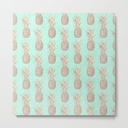 Golden and mint pineapples pattern Metal Print
