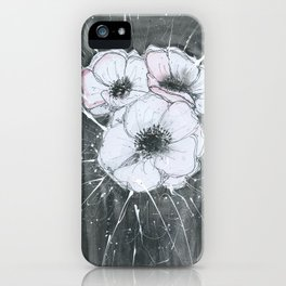 Anemone Flowers illustration gray neutral colors decor iPhone Case