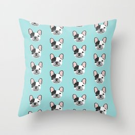Frenchie black and white french bulldogs french bulldog gifts for dog lovers Throw Pillow