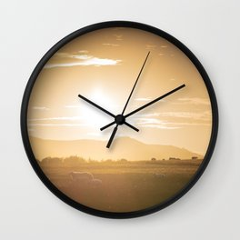 Sheep grazing in Lake District at sunset in England Wall Clock