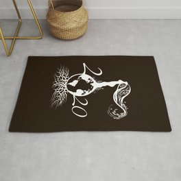 Mother Earth 2020 - White Outline On Brown Rug
