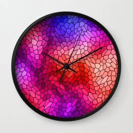 Volumetric texture of pieces of blue glass with a light mysterious mosaic. Wall Clock
