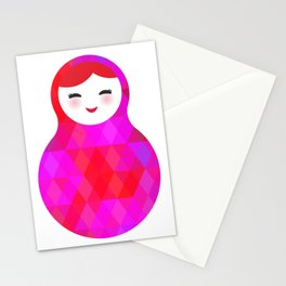 Russian doll matryoshka screw up one's eyes with bright rhombus on white background, pink colors Stationery Cards