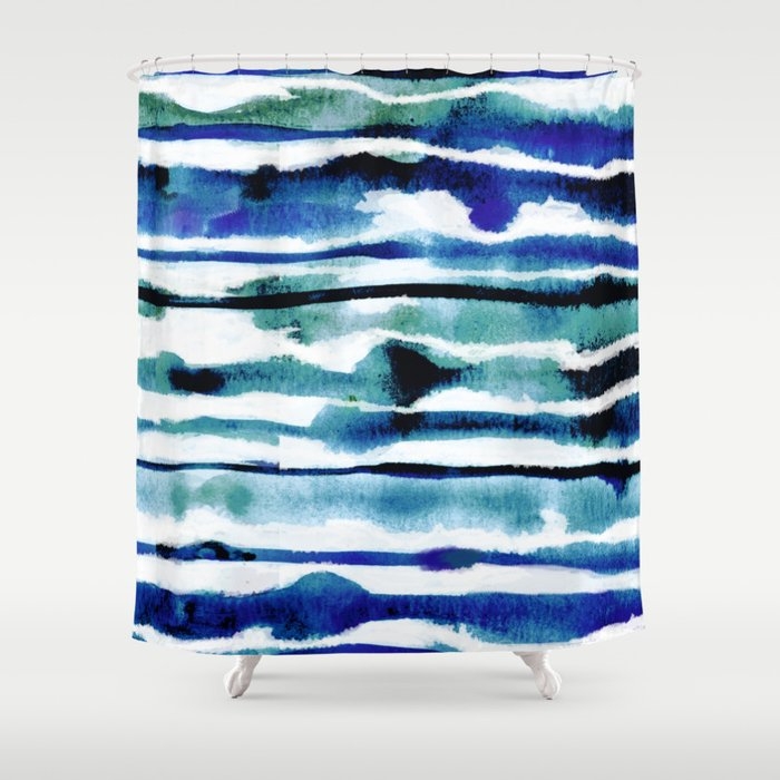 Laguna Watercolor Stripe Shower Curtain
