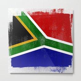 South African Distressed Halftone Denim Flag Metal Print