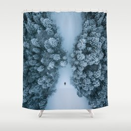 Man lying in the snow on a frozen lake in a winter forest - Landscape Photography Shower Curtain