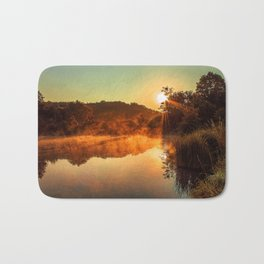 Sunrise at the lake/Sonnenaufgang am See Bath Mat