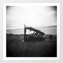 Peter Iredale Shipwreck - Oregon Coast Holga Double Exposure Art Print