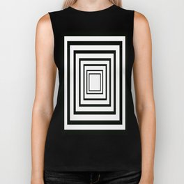 Concentric Squares Black and White Biker Tank