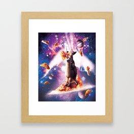 Laser Eyes Space Cat Riding On Surfing Llama Unicorn Framed Art Print