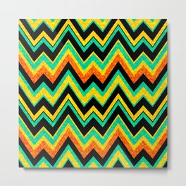 Colorful Chevron With Faux Glitter Texture Look Metal Print